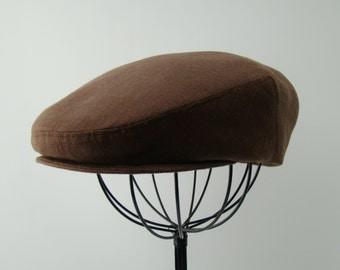 Dark Chocolate Brown Linen Flat Jeff Cap, Ivy Cap, Driving Cap for Men, Women, and Children