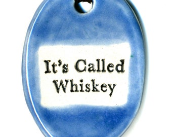 It's Called Whiskey Ceramic Necklace in Distressed Blue Jean Blue