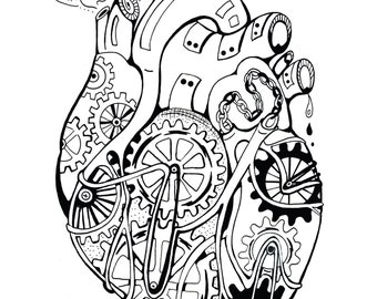 Mechanical Heart Coloring Art Print Robot 11x17 Poster Art For You To Color and Frame with FREE Markers