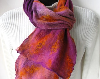 Boho Fashion Scarf for Women Nuno felted scarf hand dyed silk and wool scarf silk scarf wearable fiber art gift for her purple orange pink