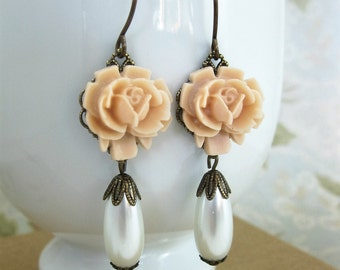 Pale Pink Rose Dangle Earrings with White Teardrop Pearl Antiqued Brass Vintage Style Romantic Wedding Bridal Gift for Her Under 20