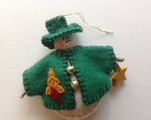 Snowman Christmas Ornament Handmade Tiny Green Felt Snowman Christmas Ornament Holiday Christmas Snowman Ornament