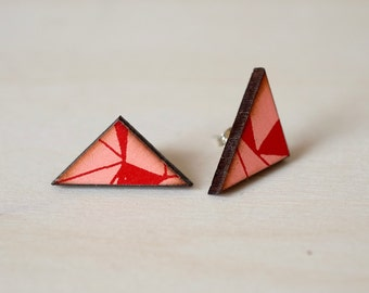 Screenprinted Wooden Earrings - The PatternShop Collection - Triangle