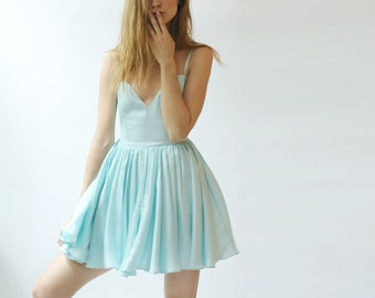 Sale - Short flirty cocktail dress in Aqua blue