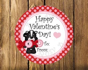 Printable Valentine Skunk gift Tags Instant Download