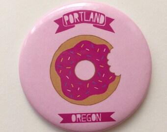 Portland, Oregon Pink Donut Themed Magnet