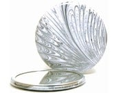 Marbled Pocket Mirror 12, Black and White Feather, Marbled Paper Mirror, Small Glass Mirror, Hostess Gift