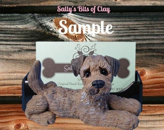 Border Terrier dog Business Card /Cell Phone / Post It Notes Holder OOAK Sculpture by Sally's Bits of Clay