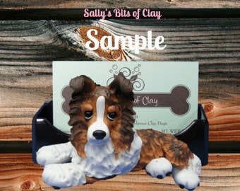 sable Collie dog Business Card Holder / Iphone / Cell phone / Post it Notes OOAK sculpture by Sally's Bits of Clay