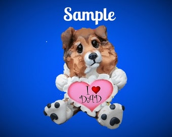 sable Sheltie Shetland SheepDog Father's Day Sculpture love DAD OOAK Clay art by Sallys Bits of Clay