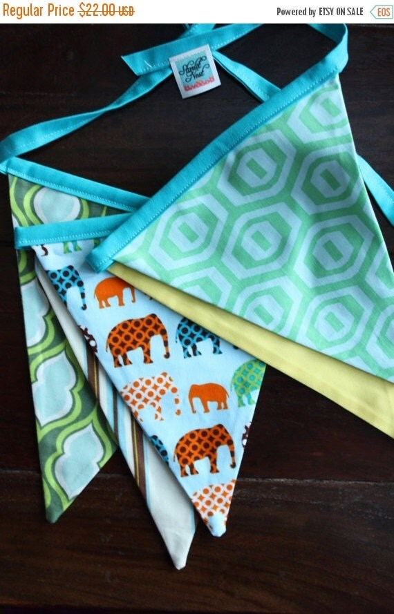 30 PERCENT OFF Sale, Elephant Theme Green, Blue and Yellow  Boy Themed Bunting.  Ready To Ship.  Photo Prop, Nursery Decoration, Party Banne