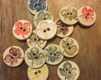 FREE SHIPPING Set of 14 Handmade Ceramic Buttons - 4 Petal Flowers
