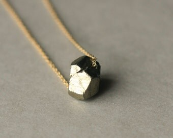 Pyrite Nugget Necklace, Gold Pyrite Necklace, Organic Jewelry, Pyrite Jewelry, Nugget Pendant, Metallic Jewelry, Gemstone Necklace