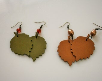 Leather Leaf Earrings Choose your color Green or Orange