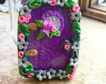 Handmade Polymer Clay Purple Fairy Mini Door