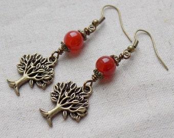 Tree Earrings with Carnelian