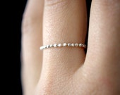 Thick Sterling Silver Beaded Chain ring, silver bead ring, chain ring, delicate ring, silver bead ring, silver wedding band, bead ring