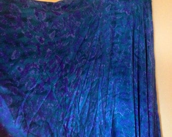Vtg Full Spin Watercolor 100% Silk Skirt