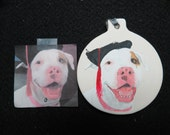 Pit Bull Pet Portrait Ceramic Ornament Hand Painted and Made to Order by Pigatopia