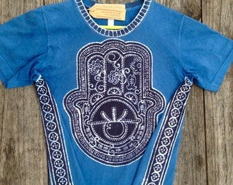 Hamsa Hand of Fatima personalized neck organic cotton hand dyed blue mens clothing batik clothing, casual top, hand drawn hand painted