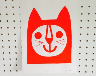 New Limited Edition Happy Cat screen print by Jane Foster