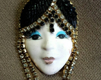 Vintage Woman Face Lady Head Ceramic Brooch Pin Cleopatra Fashion Style Beaded Beadwork Bust Sparkly Rhinestone Beautiful Make Up