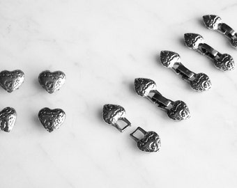 Multi-Strand Heart End Caps Clasps Findings Beaded Watch Jewelry Supplies Silver Pewter Fold-Over Clasp