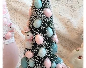 Vintage BUNNY Planter EASTER/Spring Bottle Brush Glitter Eggs Ornaments Chic ECS sct schteam