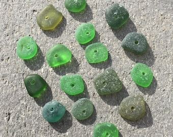 Sea glass beads - Bulk sea glass  - DRILLED sea glass - beach glass for jewelry making - green sea glass - sea glass for jewelry