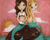 Cousins Gift-  Kids  Art -  Mermaid Wall Art - Mermaid Decor- ( Sunset Mermaids -blonde/brunette) Print Sizes 8x10 and 5x7
