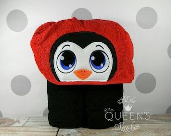 Toddler Penguin Hooded Towel - Cute Penguin Hooded Towel - Penguin Towel for Bath, Beach, or Pool