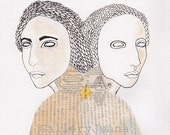 female portrait, collage, pen line drawing,  gemini, twins, Dualism I