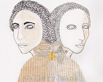 female portrait, collage, pen line drawing,  gemini, twins, Dualism I, 8 x 10