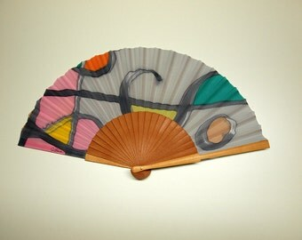 Hand fan Handpainted Silk-Abanico-Wedding gift-Giveaways-Bridesmaids-Mondrian style hand fan