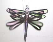Ice Wings - 3D Stained Glass Dragonfly Twirl - Mini Clear Home Garden Decor Suncatcher Yard Art Hanging Decor (READY TO SHIP)