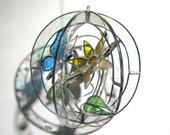 Open Arms - Stained Glass 3D Sphere - Small Sunflower Flower Butterfly Nature Scene Suncatcher Hanging Art Sculpture (READY TO SHIP)