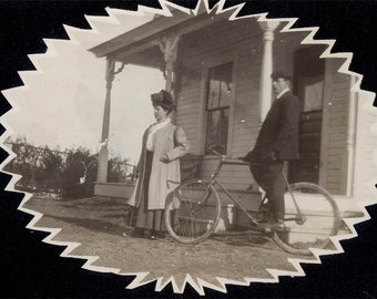 vintage snapshot photo 1912 Couple Man Woman w Bicycle Cut Out Antique Vintage Snapshot photo