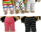 14 to 16 inch size Waldorf Doll leggings, dotty or striped or floral or polka dot doll leggings