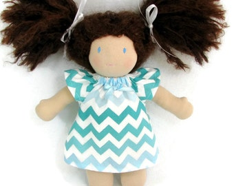 Blue chevron dress for your 10 to 12 inch Waldorf doll, handmade doll clothing for Waldorf dolls, baby doll dress