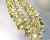 Lemon Quartz Genuine Gemstone Pear Top Drilled Beads Natural Very Clear