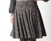 Lace print skirt, Flared brown and black supple skirt with lace print, Your size