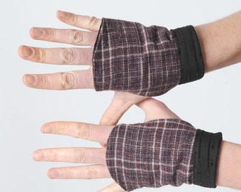 Purple plaid fingerless Gauntlets, Purple and black gloves, Winter accessories, Gift for her