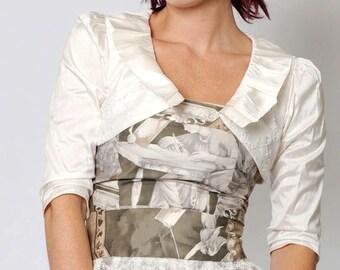 Beaded wedding bolero, ivory silk bolero with pleated collar, Silk bridal bolero - Size UK 10/12 or Your size