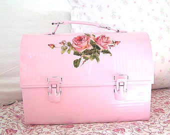 Vintage Pink Metal Lunch Pail Rose Spray Design
