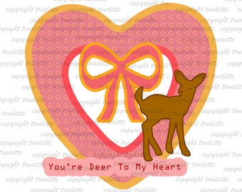 Deer  Clipart Single, commercial use, Love / Valentine Deer / Valentine Clip Art / Digital Clipart , Heart clipart, love clipart, heart, bow