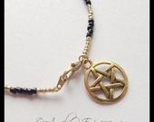 Protection Pentacle Supernatural Beaded Anklet in Gold and Black OOAK