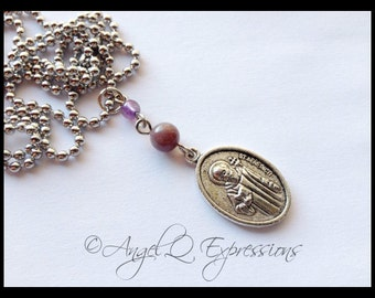 Supernatural Exorcism Protection Saint Benedict Amulet with Agate and Amethyst