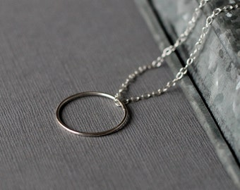 Silver Full Circle Necklace - modern jewellery - handcrafted sterling silver