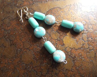 Turquoise Picasso Vintage Plastic  Beaded Dangle earrings
