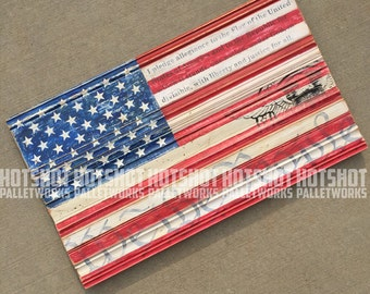 American Flag, Stars and Stripes, Vintage-looking, upcycled wood, hand made, hand painted sign